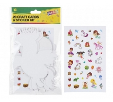 20PCS CARD CRAFT CUTOUTS WITH STICKERS