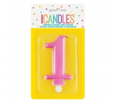 METALLIC PINK NUMBER 1 BIRTHDAY CANDLE