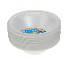 12 Pack 6 inch White Polystyrene Disposable Bowl