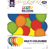 PARTY BALLOONS MULTI COLOURED 25 PACK