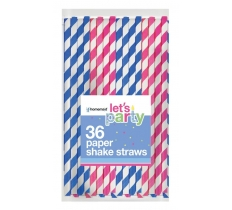 36 PACK STRIPED SHAKE PAPER STRAWS
