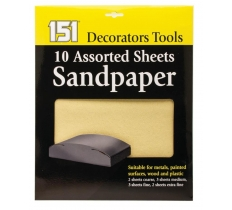 ASSORTED SANDPAPER SHEETS 10 PACK