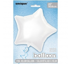 20'' PKG STAR WHITE FOIL BALLOON