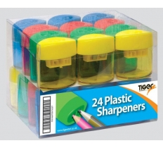 TIGER PLASTIC PENCIL SHARPENERS IN TRAY 24 PACK