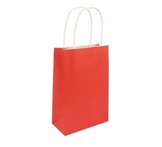 RED PAPER PARTY BAG WITH HANDLES 14CM X 21 CM X 7CM