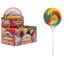 ROUND SWIRL RAINBOW LOLLY WITH STICK