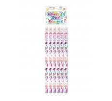 UNICORN PENCILS WITH ERASERS 6 PACK