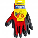 10'' 13G Red Polyester Black Nitrile Coating Gloves