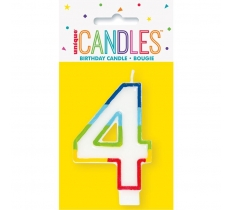 RAINBOW BORDER NUMBER BIRTHDAY CANDLE 4