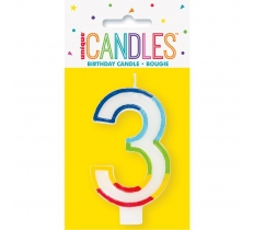 RAINBOW BORDER NUMBER BIRTHDAY CANDLE 3