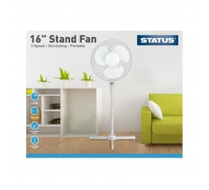 "16"" White Stand Fan - Oscillating - 3 Speed Settings"