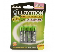 4PACK NIMH AAA BATTERY 550MAH