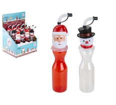 SANTA / SNOWMAN HEAD PLASTIC BOTTLE WITH FLEXI STRAW 500ML