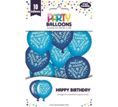 10PK PARTY BALLOONS BLUE