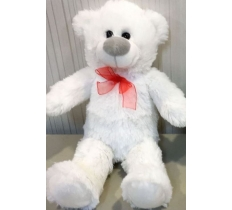 20CM SITTING BEAR WHITE WITH RED RIBBON