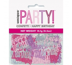 BIRTHDAY PINK GLITZ HAPPY BIRTHDAY CONFETTI .5OZ