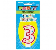 NUMBER 3 GLITTER BIRTHDAY CANDLE & DECORATION