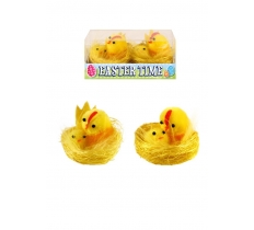2 PACK EASTER CHICKS YELLOW W/BABY IN NEST 4 CM