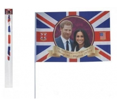 "ROYAL WEDDING COUPLE 24"" X 16"" RAYON FLAG WITH 27"" STICK"