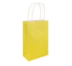 YELLOW PAPER PARTY BAG WITH HANDLES 14CM X 21 CM X 7CM