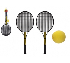 BLACK TENNIS SET WITH SOFT YELLOW BALL IN NET BAG