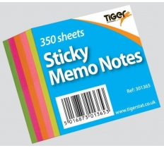 Neon Sticky Memo Notes 50mm x 50mm 350 Sheet Block