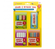 CHALK & ERASER SET 16 PACK