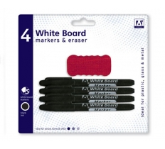 PACK OF 4 WHITEBOARD MARKERS & ERASERS