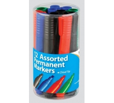 Chisel Tip 2mm Permanent Assorted Markers X 12 (29p Each)