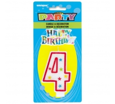 NUMBER 4 GLITTER BIRTHDAY CANDLE & DECORATION