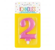 METALLIC PINK NUMBER 2 BIRTHDAY CANDLE