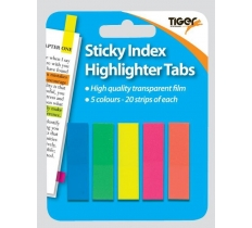 TIGER STICKY INDEX TABS ASSORTED COLOURS