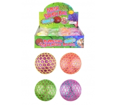 SQUEEZE SQUISHY MESH BALL WITH LIGHT 7CM