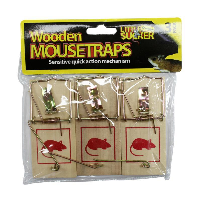 3 PACK TRADITIONAL WOODEN MOUSETRAPS