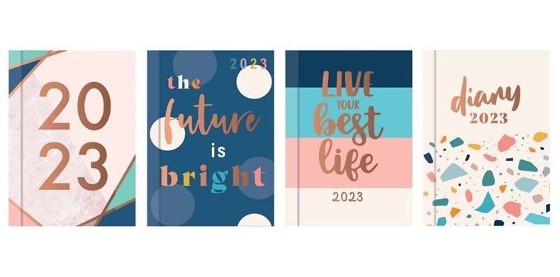 2019 Pocket Diary Week to View in CDU:4 assorted designs - Gold