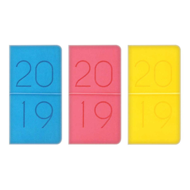 2019 Slim diary, WTV: Embossed PU '2019' with elastic closure