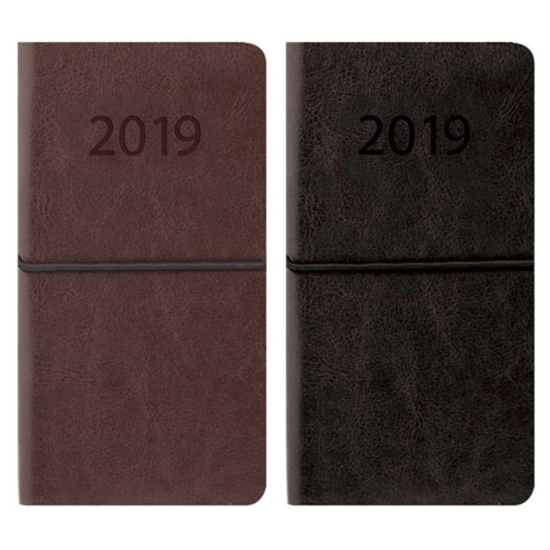 2019 Slim diary, WTV: Flexi-cover PU leatherette with elastic cl
