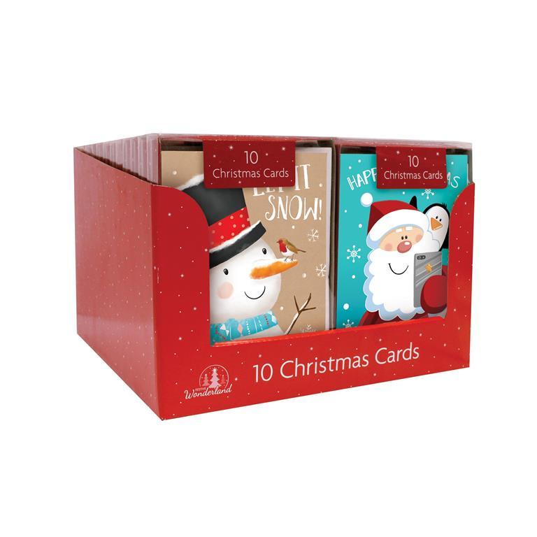 rectangle cute christmas cards kraft snowmensanta 10 pack
