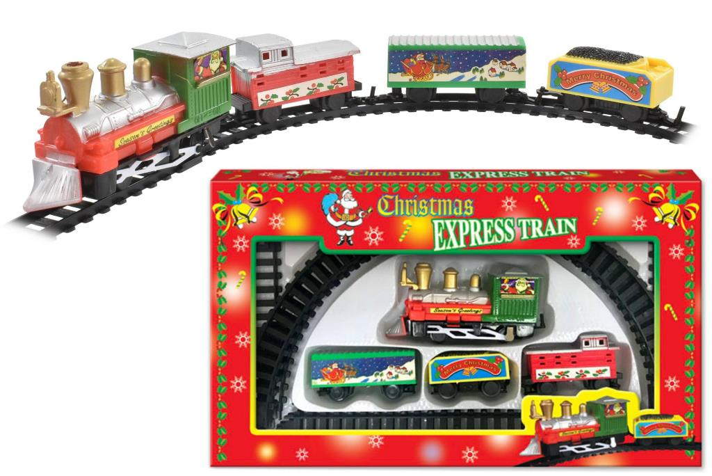 CHRISTMAS BATTERY OPERATED TRAIN SET IN WINDOW BOX